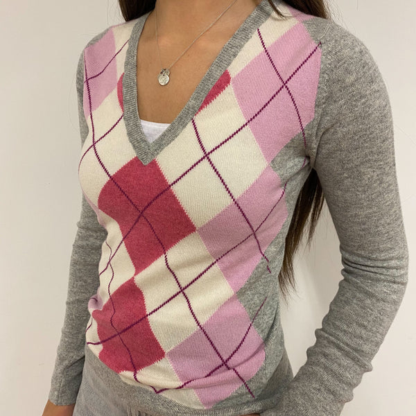 New Pink and Grey Argyle Pattern V Neck Jumper Extra Small