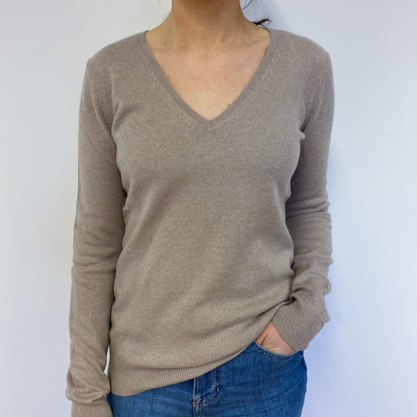 Sand V Neck Jumper Small