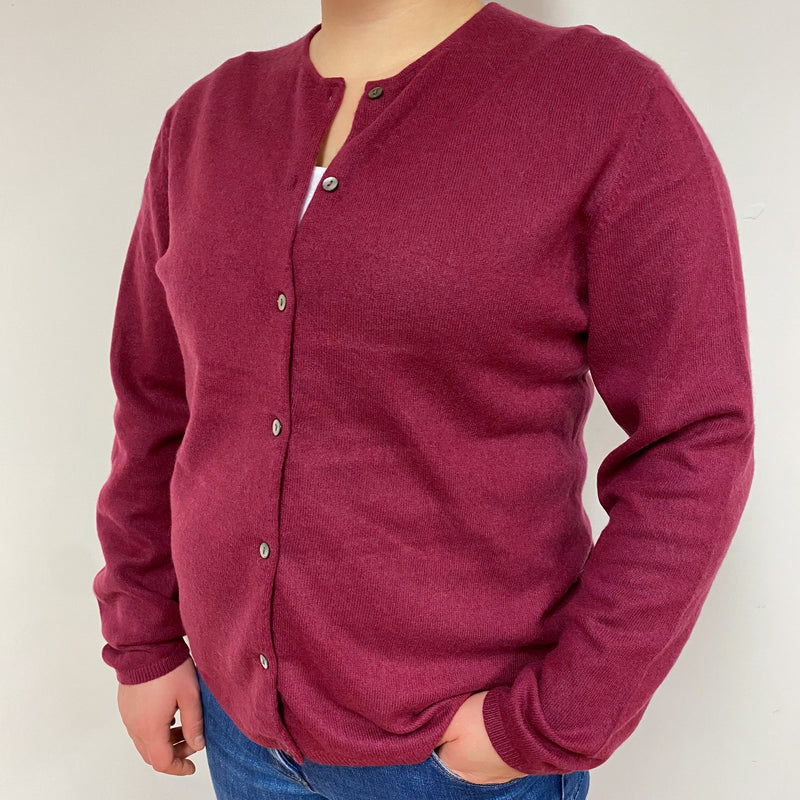 Dark Cherry Crew Neck Cardigan Large