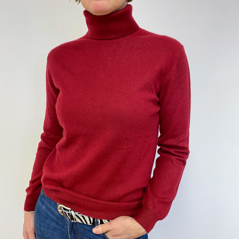 Crimson Red Polo Neck Jumper Medium