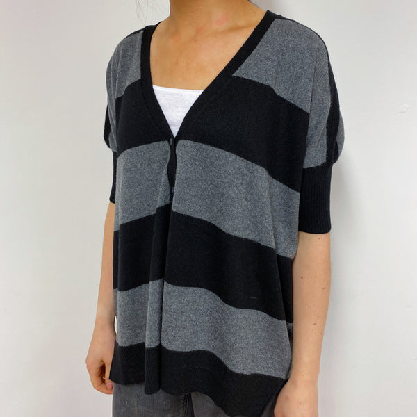 Black and Grey Tunic Style Cardigan Small