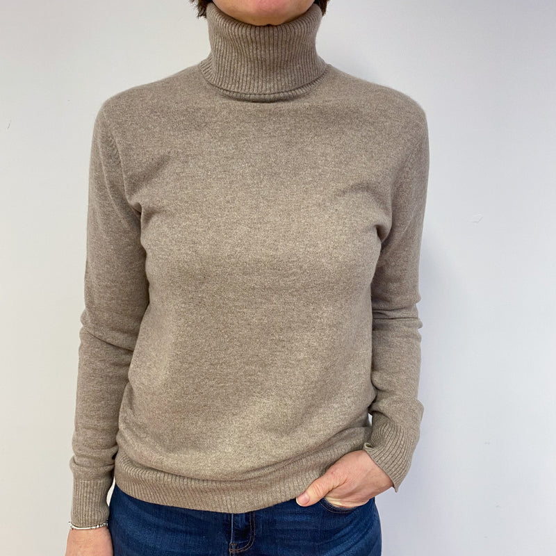 Oatmeal Polo Neck Jumper Medium