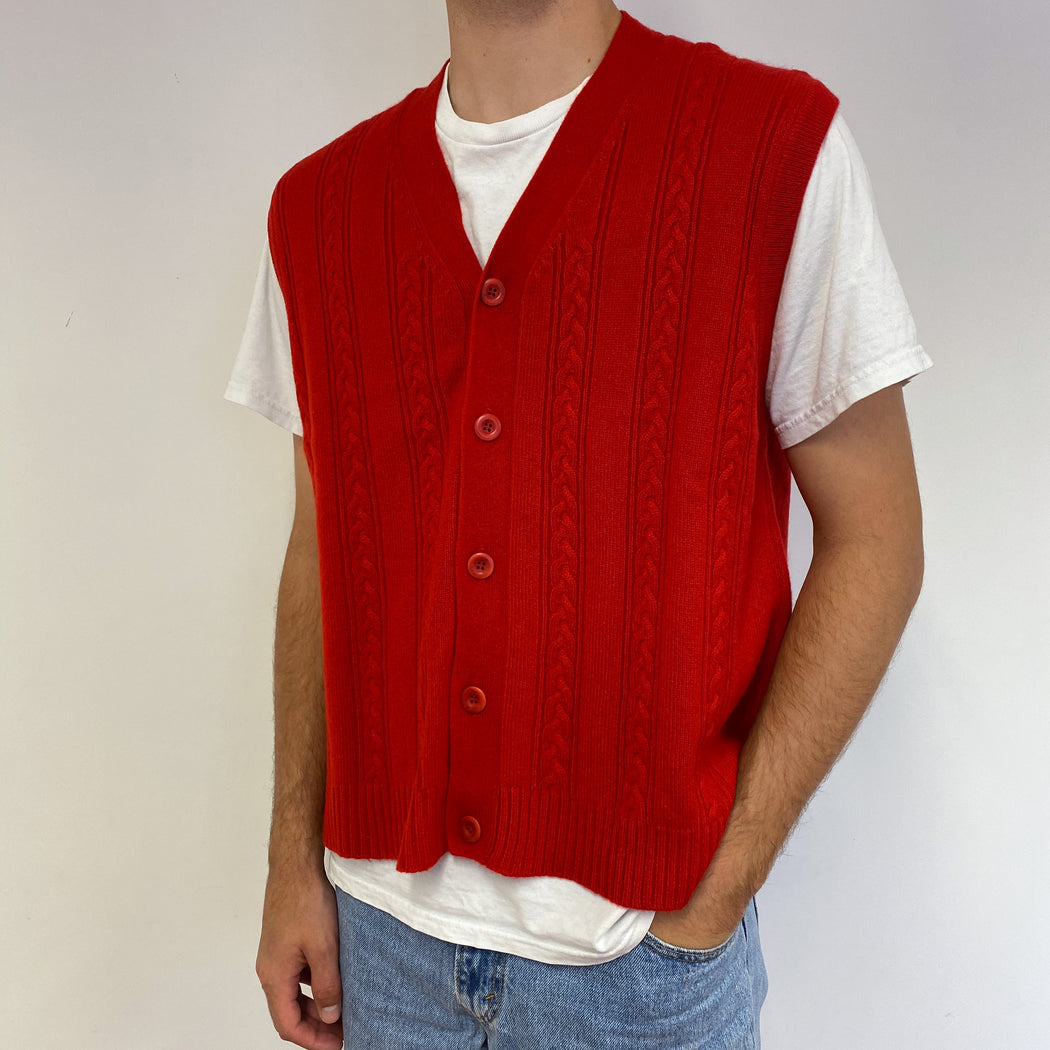 Men's Red Vintage Cable Knit Sleeveless Cardigan Large