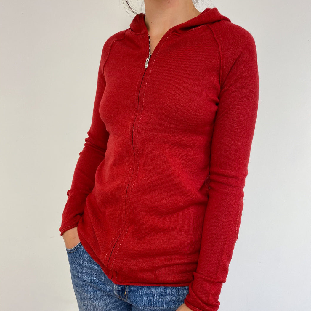 Cherry Red Zipped Hoodie Small
