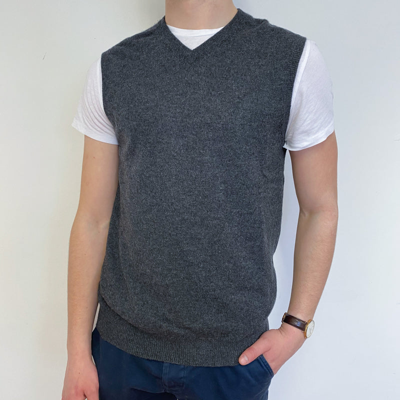 Men's Slate Grey V Neck Sleeveless Jumper Small