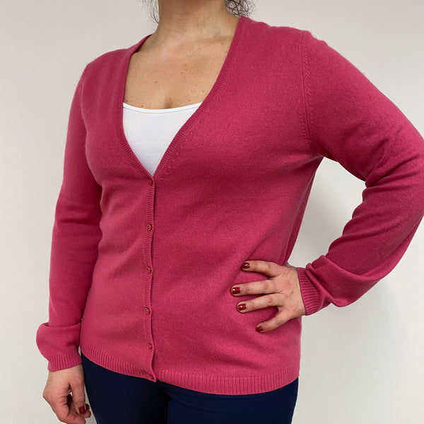 Rose Pink V Neck Cardigan Large