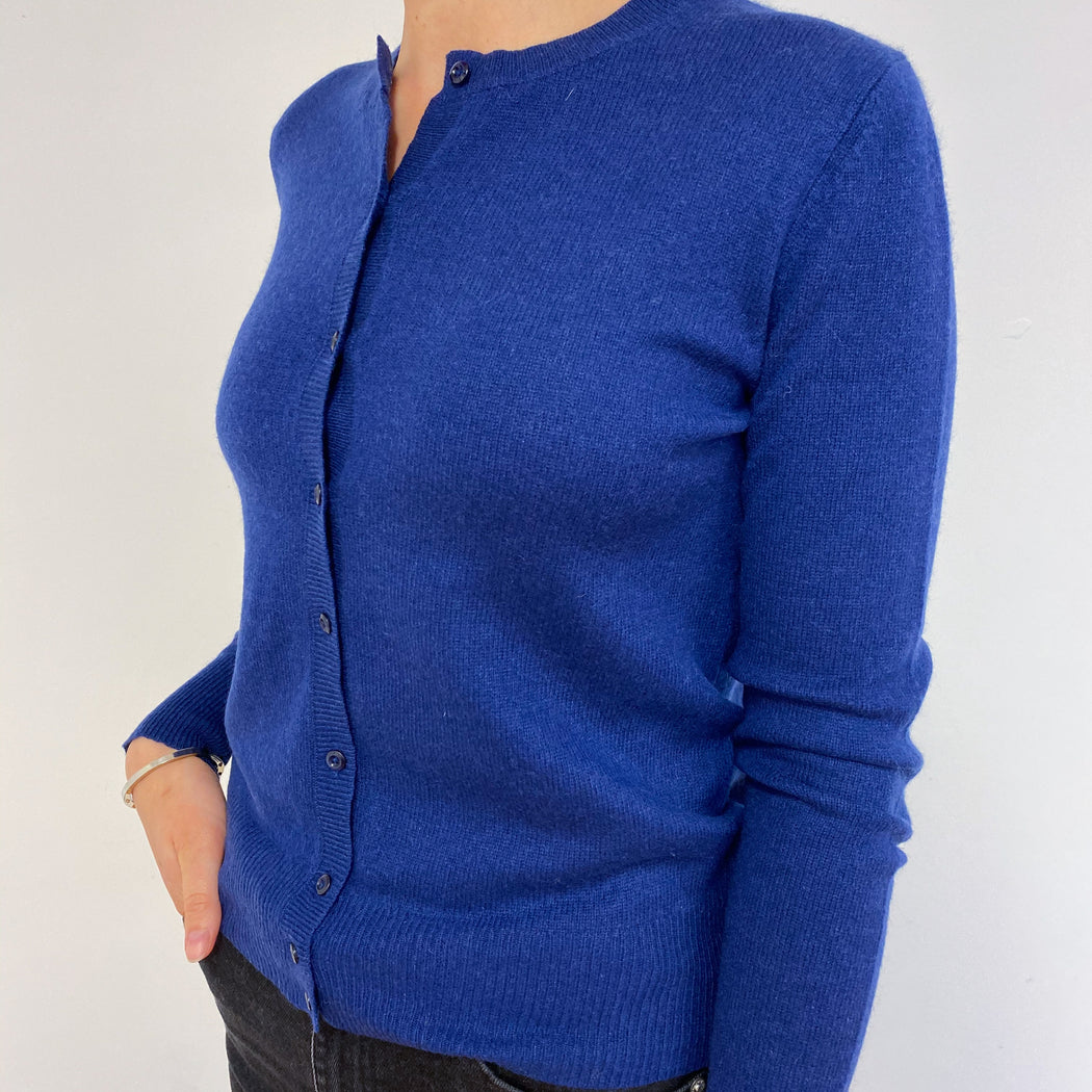 Royal Blue Buttoned Cardigan With Elbow Patches Small