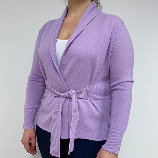 Brand New Scottish Lilac Tie Front Cardigan Large