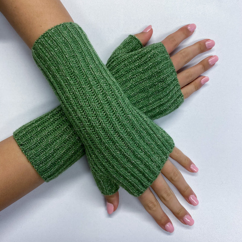 New Fern Green Sparkly Fingerless Gloves