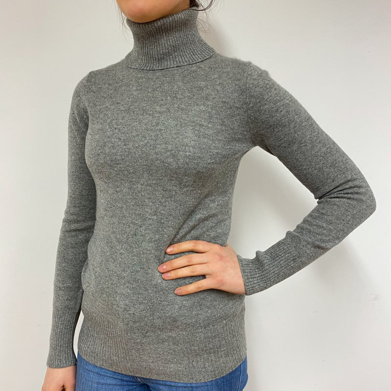 Ash Grey Polo Neck Jumper Small
