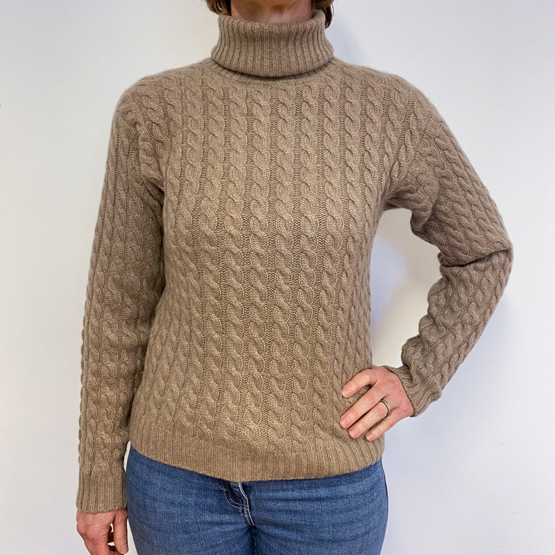Fawn Chunky Cable Knit Polo Neck Jumper Medium