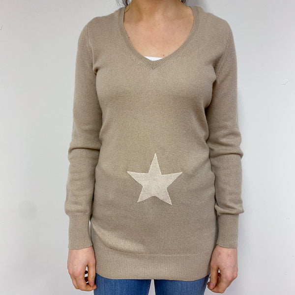 Caramel Star Long V Neck Jumper Small