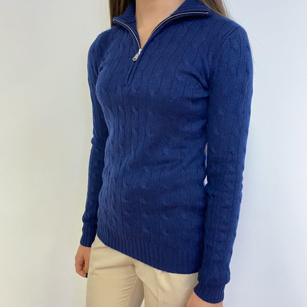 Ralph Lauren Navy Quarter Zip Jumper Extra Small