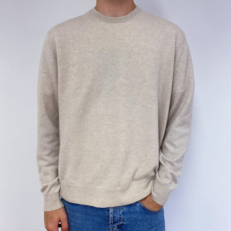 Men's Cream Crew Neck Jumper Large