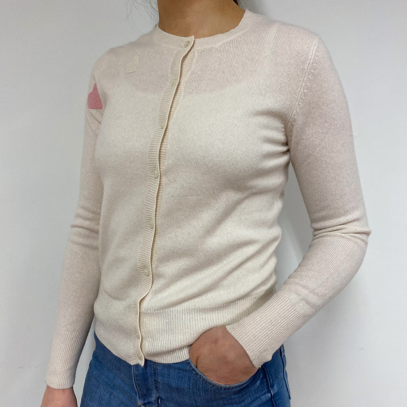 Winter White Heart Crew Neck Cardigan Small