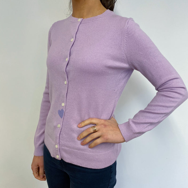 Lilac Purple Crew Neck Cardigan With a Heart Detailing Small