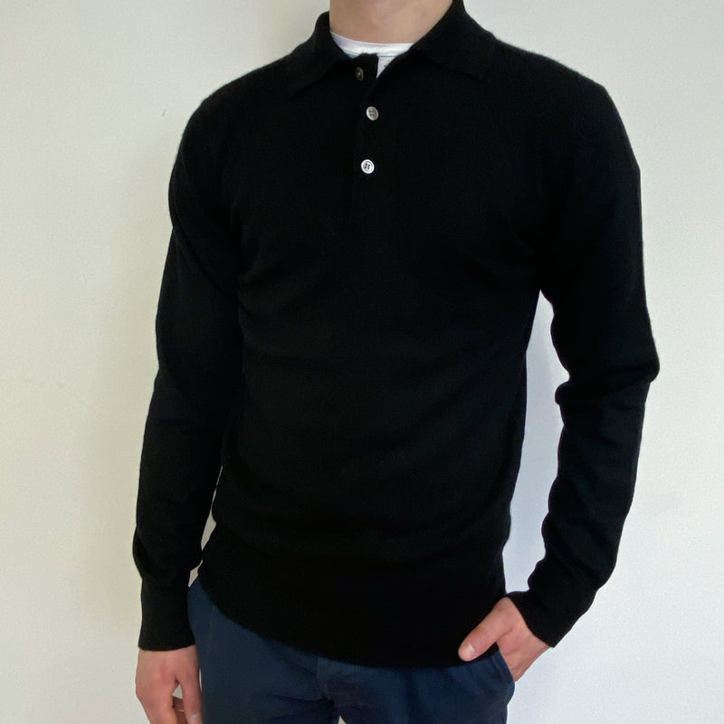 Men's Vintage Black Polo Collared Jumper Small