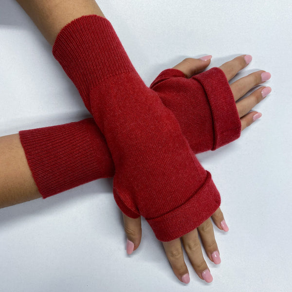 Tomato Red Fingerless Gloves