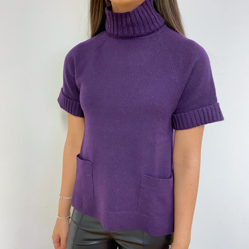 Iris Purple Polo Neck Short Sleeved Jumper Extra Small