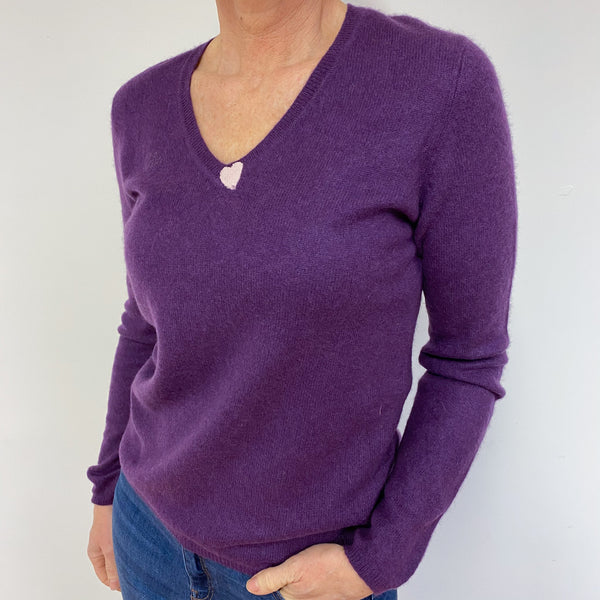 Grape V Neck Heart Jumper Medium