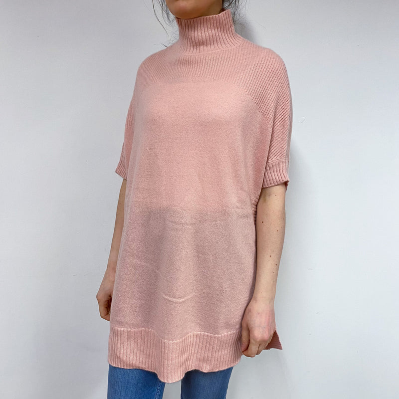 Blush Pink Polo Neck Tunic Style Jumper Small