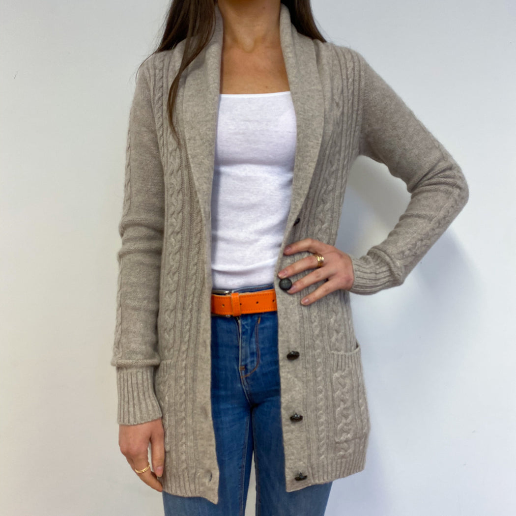 Shawl Collar Oatmeal Cable Knit Longline Cardigan Small