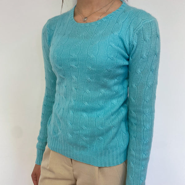 Aqua Cable Knit Crew Neck Jumper Extra Small