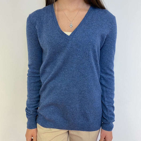 Denim Blue V Neck Jumper Extra Small