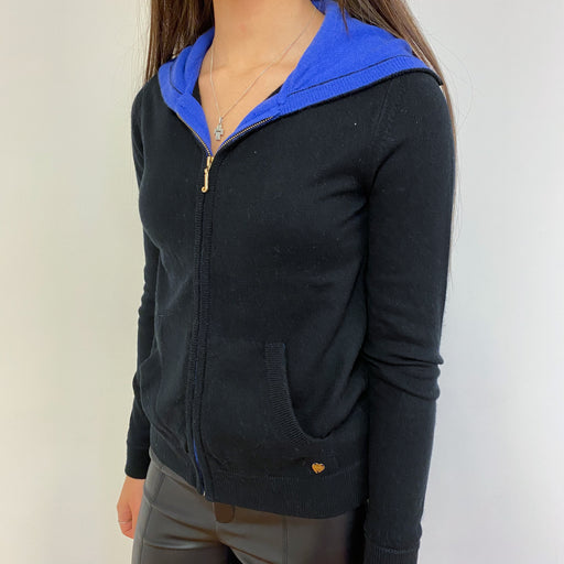 Black Zip Through Hoodie Extra Small