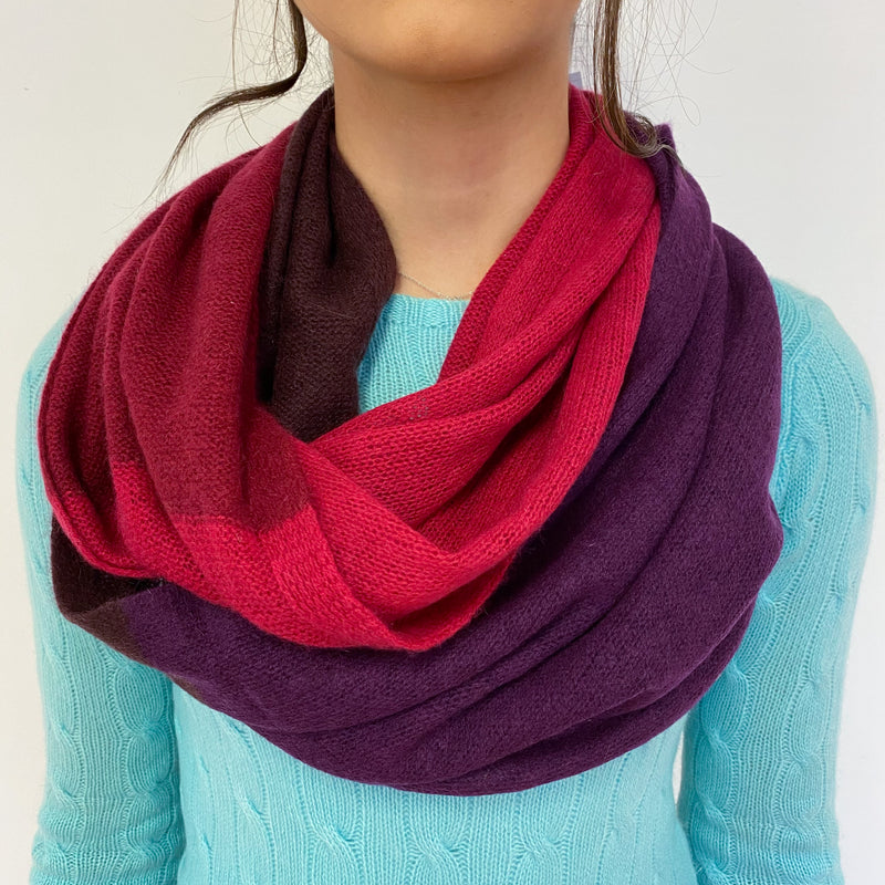 Raspberry and Purple Colour Block Snood