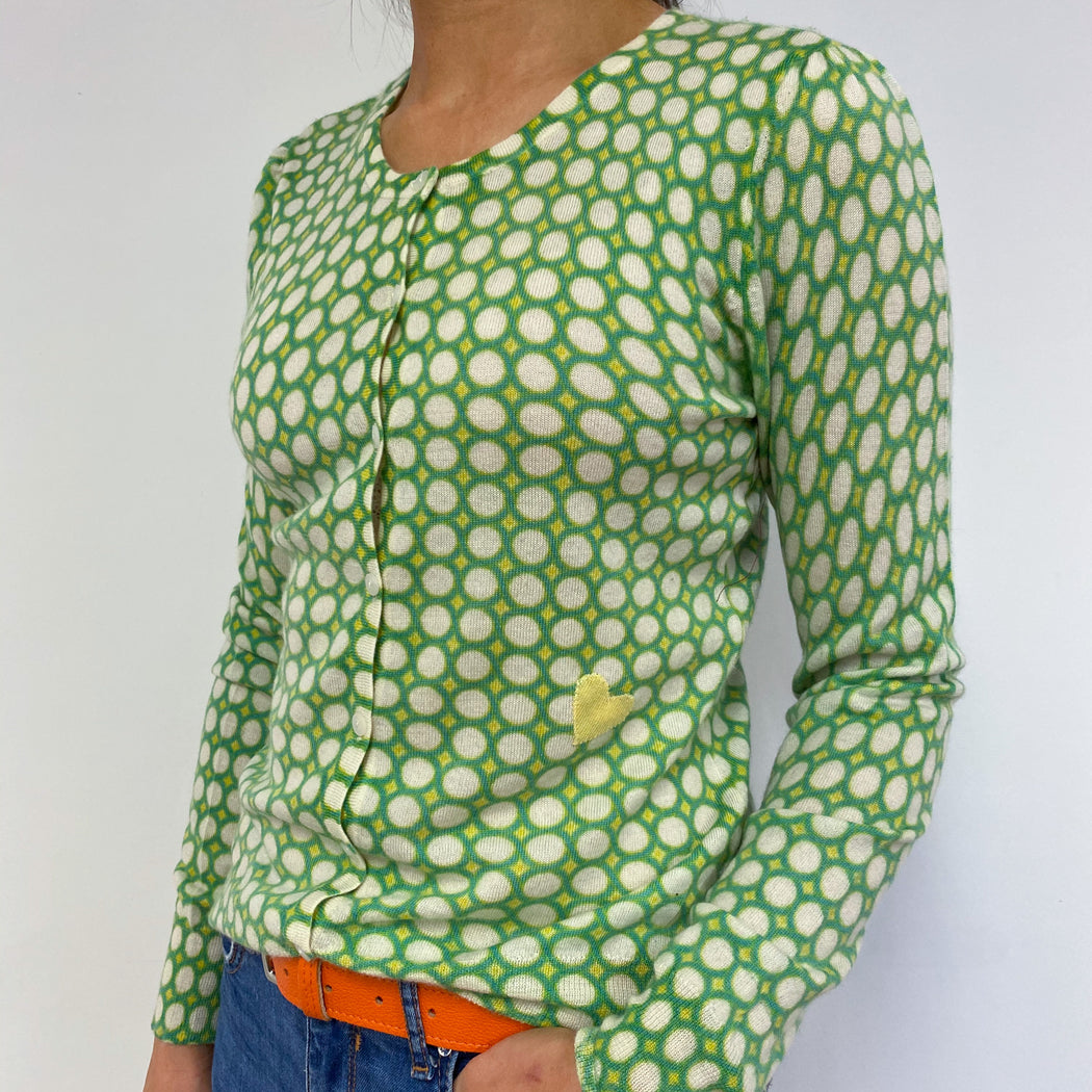 Lime Green Crew Neck Patterned Cardigan Small