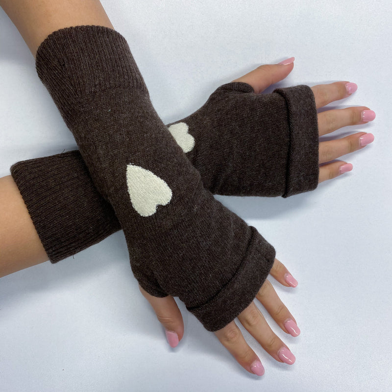 Chocolate Brown Heart Detailed Fingerless Gloves