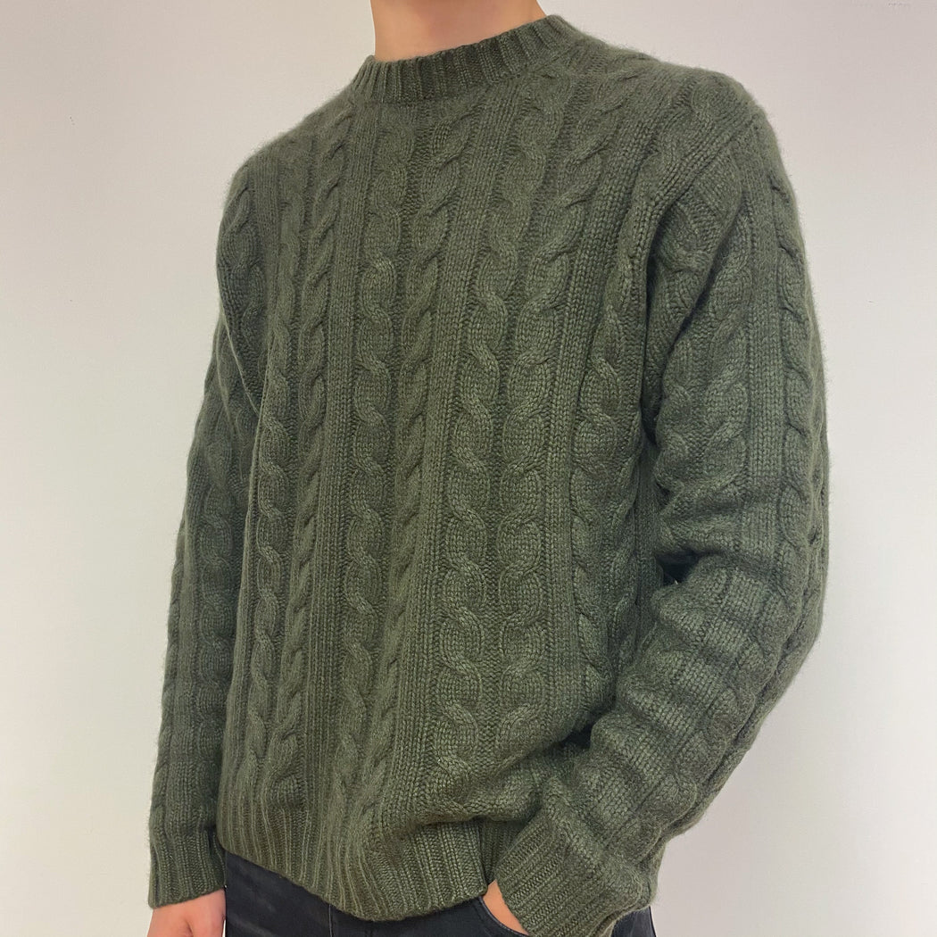 Men's Fabulous Super Thick Olive Green Cable Knit Crewneck Jumper Extra Large