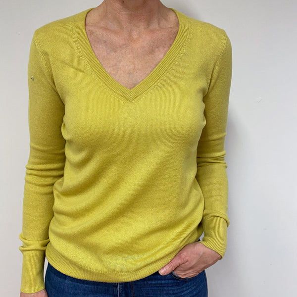 Chartreuse Green V Neck Jumper Medium