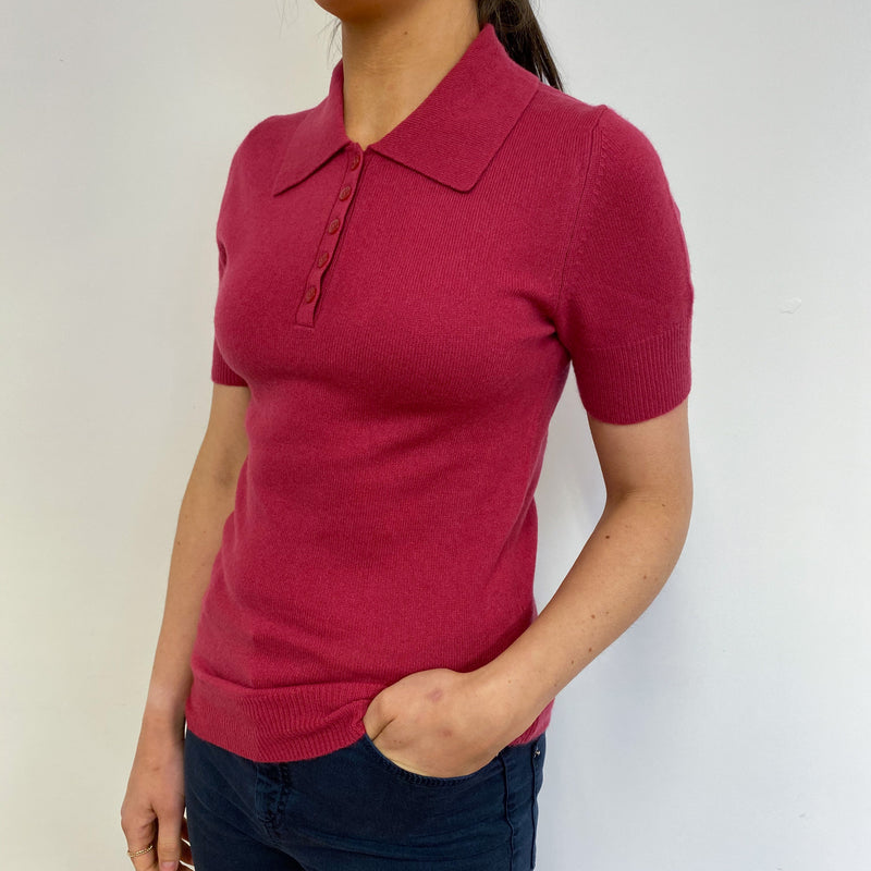 Ruby Pink Collared Tee Small
