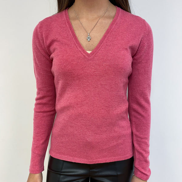 New French Rose Pink V Neck Jumper Extra Small