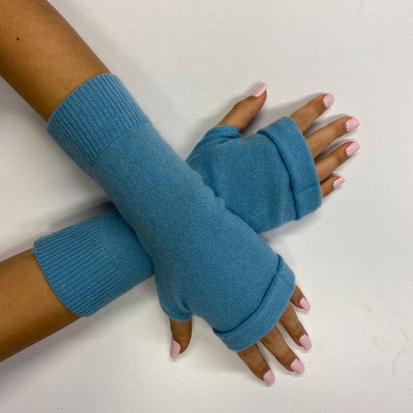 Sky Blue Fingerless Gloves