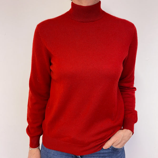 Scarlett Red Turtle Neck Star Jumper Medium