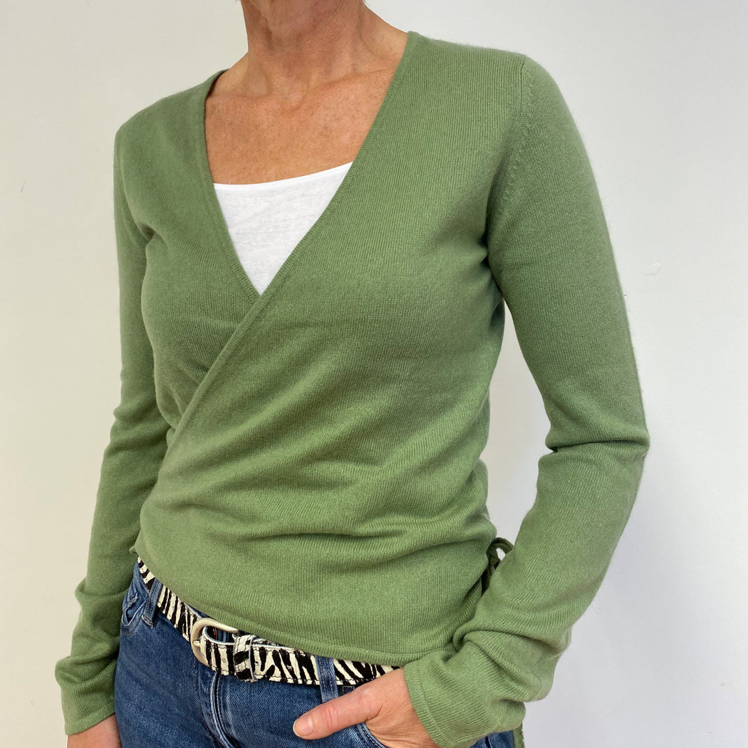Sage Green Wrap Cardigan Medium