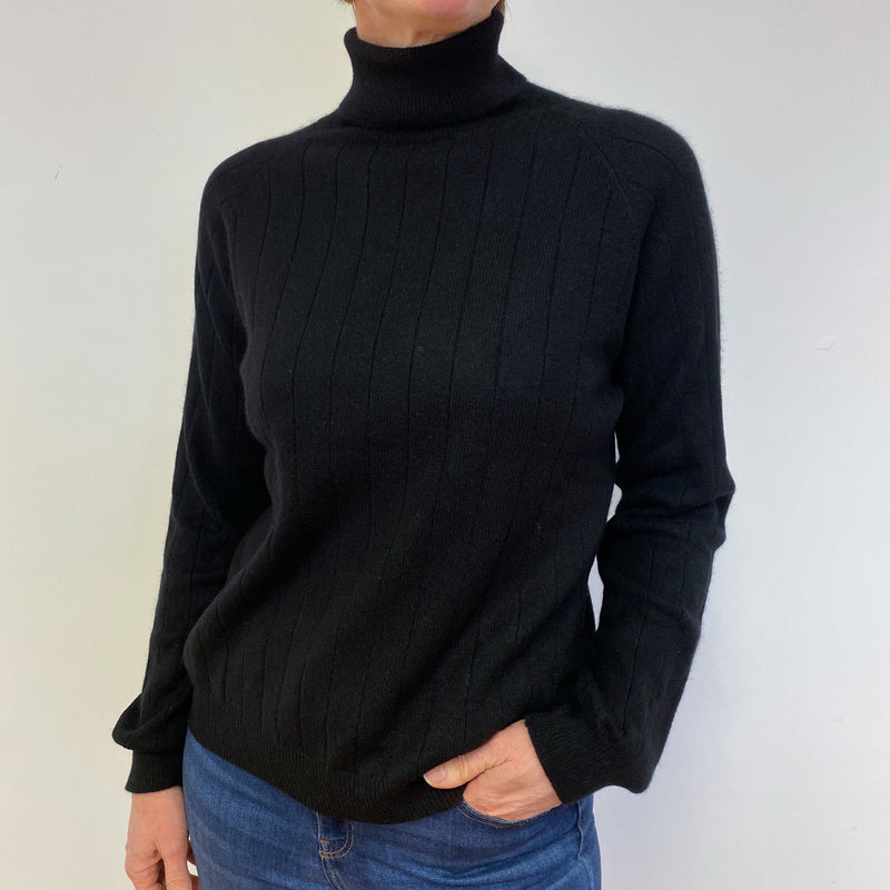 Black Wide Ribbed Polo Neck Jumper Medium