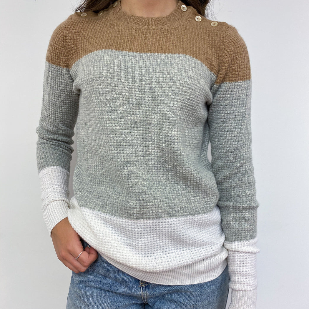 Waffle Knit Colour Block Crew Neck Jumper XS