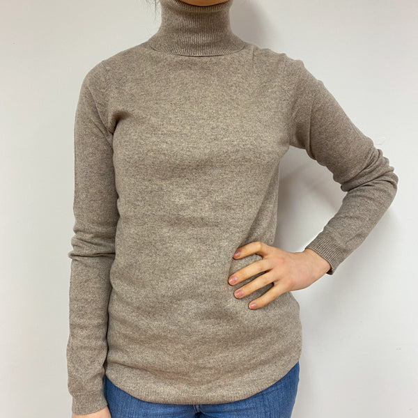 Sand Polo Neck Jumper Small