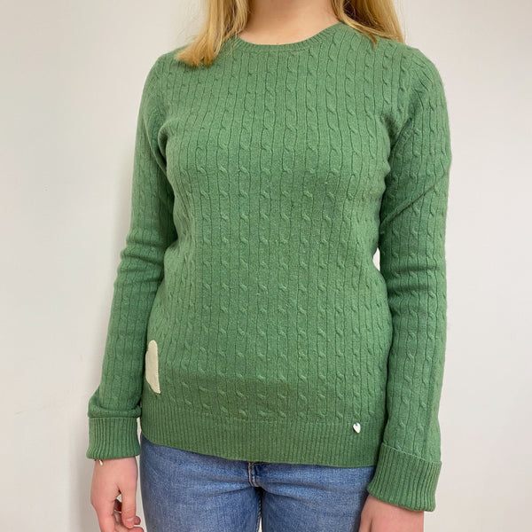 Pear Green Cable Knit Crew Neck Jumper Small