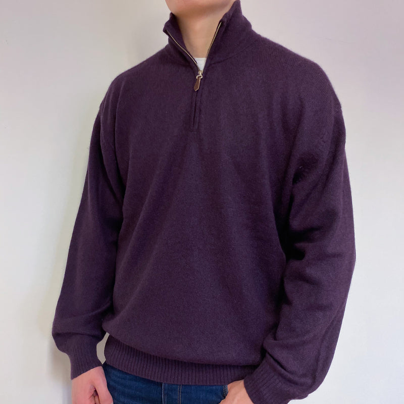 Men's Grape Purple Quarter Zip Jumper Extra Large