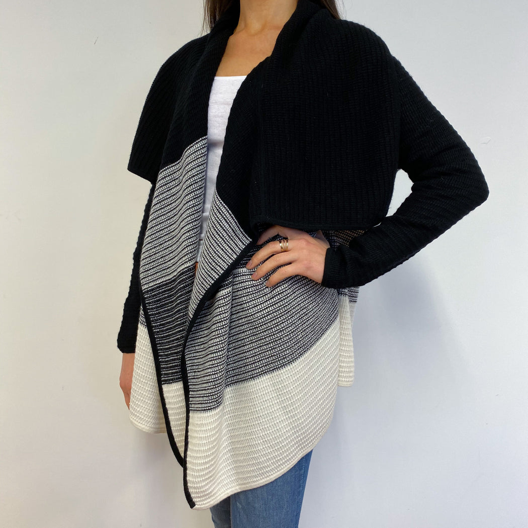 Super Warm Waffle Knit Black/Cream Long Cardigan Small