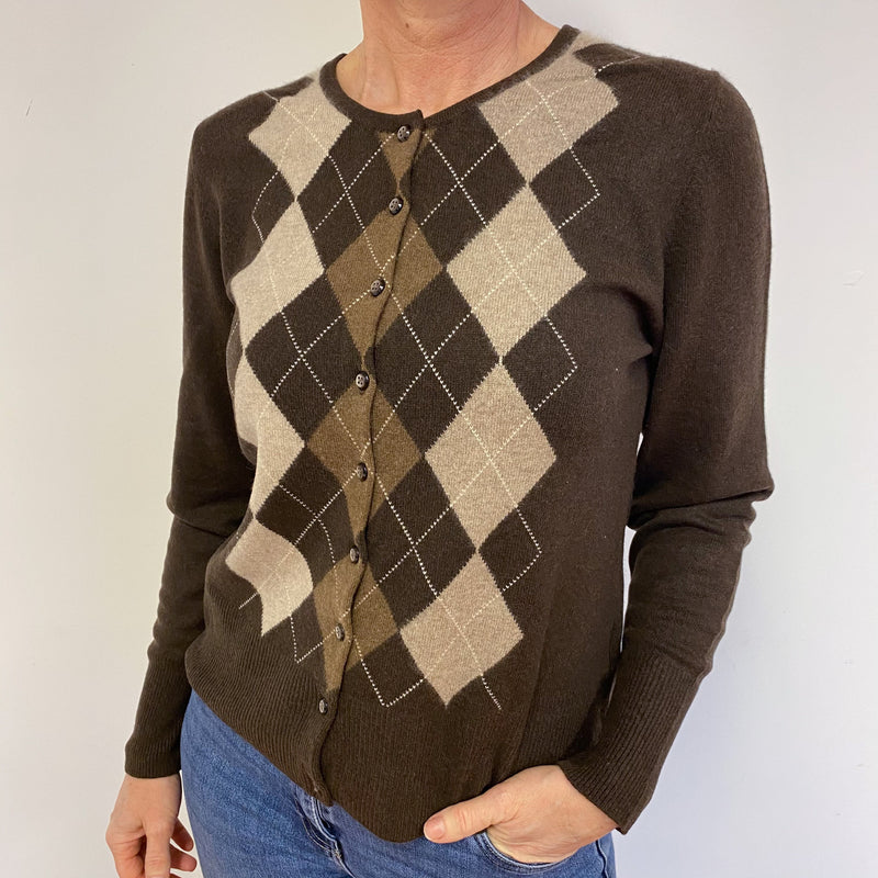 Chocolate Brown Diamond Pattern Crew Neck Cardigan Medium