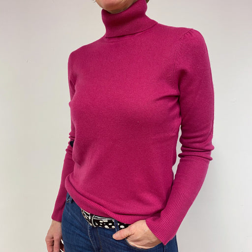 Magenta Polo Neck Jumper Medium