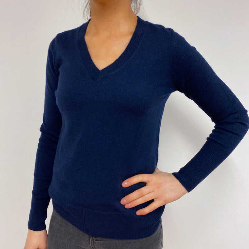Classic Navy Blue V Neck Jumper Small