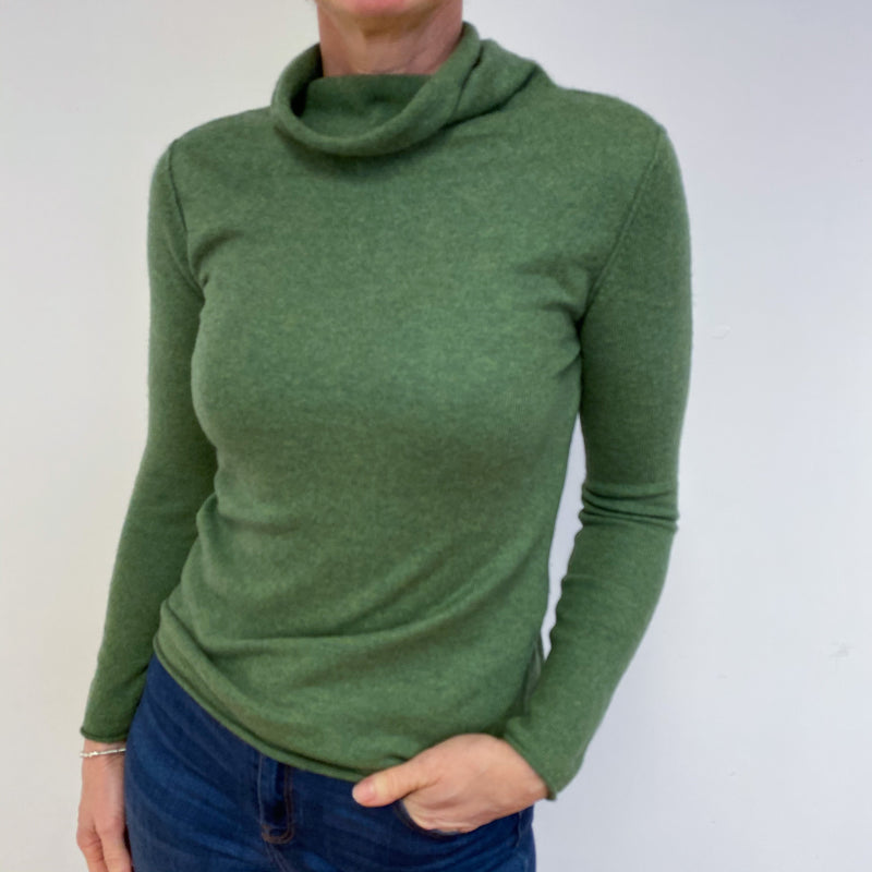 Pear Green Polo Neck Jumper Medium