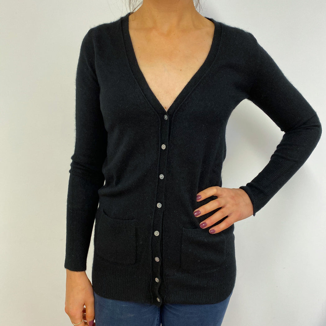 Lovely Black V Neck Buttoned Cardigan Extra Small